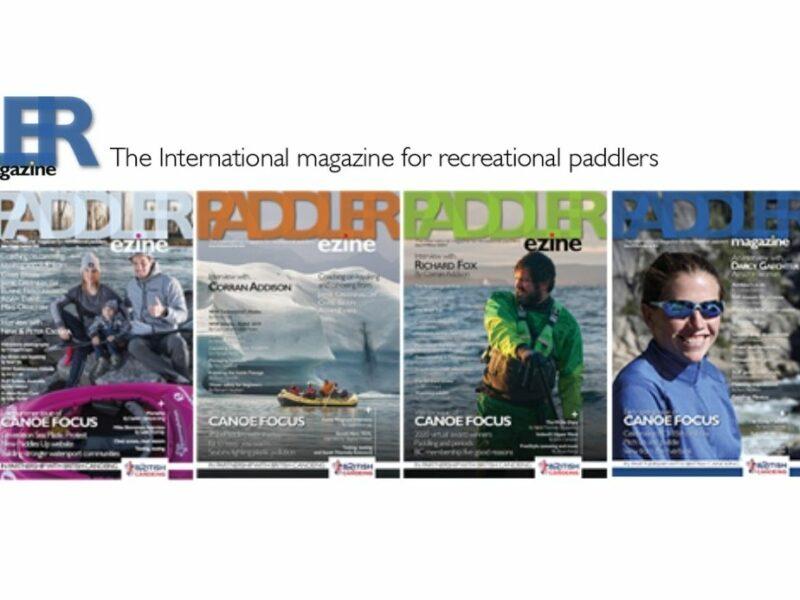 Image promoting Paddler Magazine showing various magazine front covers